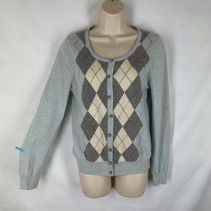 Talbots M Cardigan Sweater Argyle Blue Gray Ivory